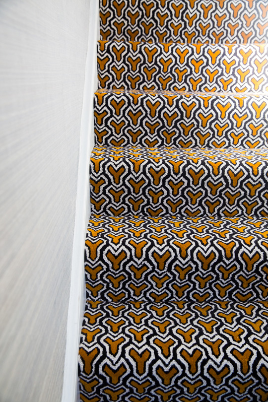 custom handtufted rug for staircase in a london townhouse