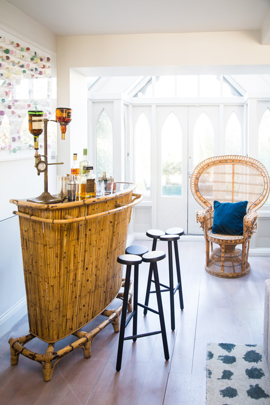 Vintage Bamboo bar in london townhouse