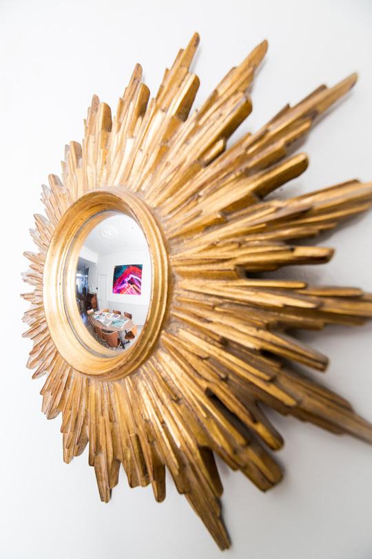 Golden sun mirror contemporary modern