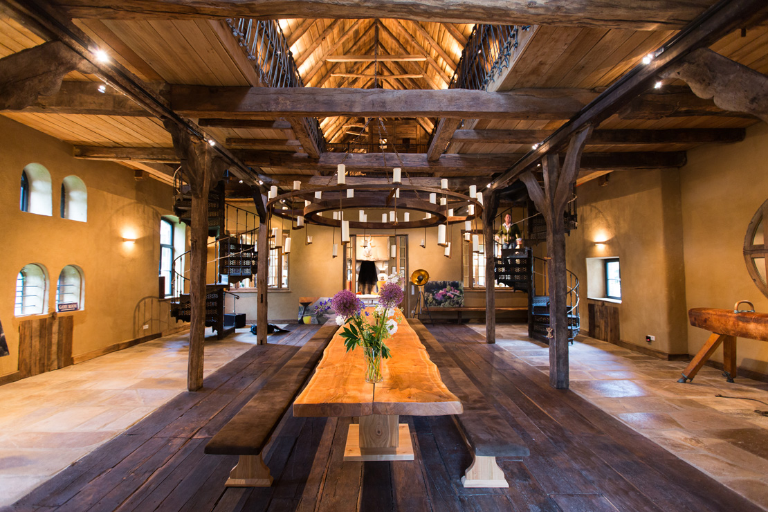rustic wooden dinning room in  an extraordinary country house in Germany