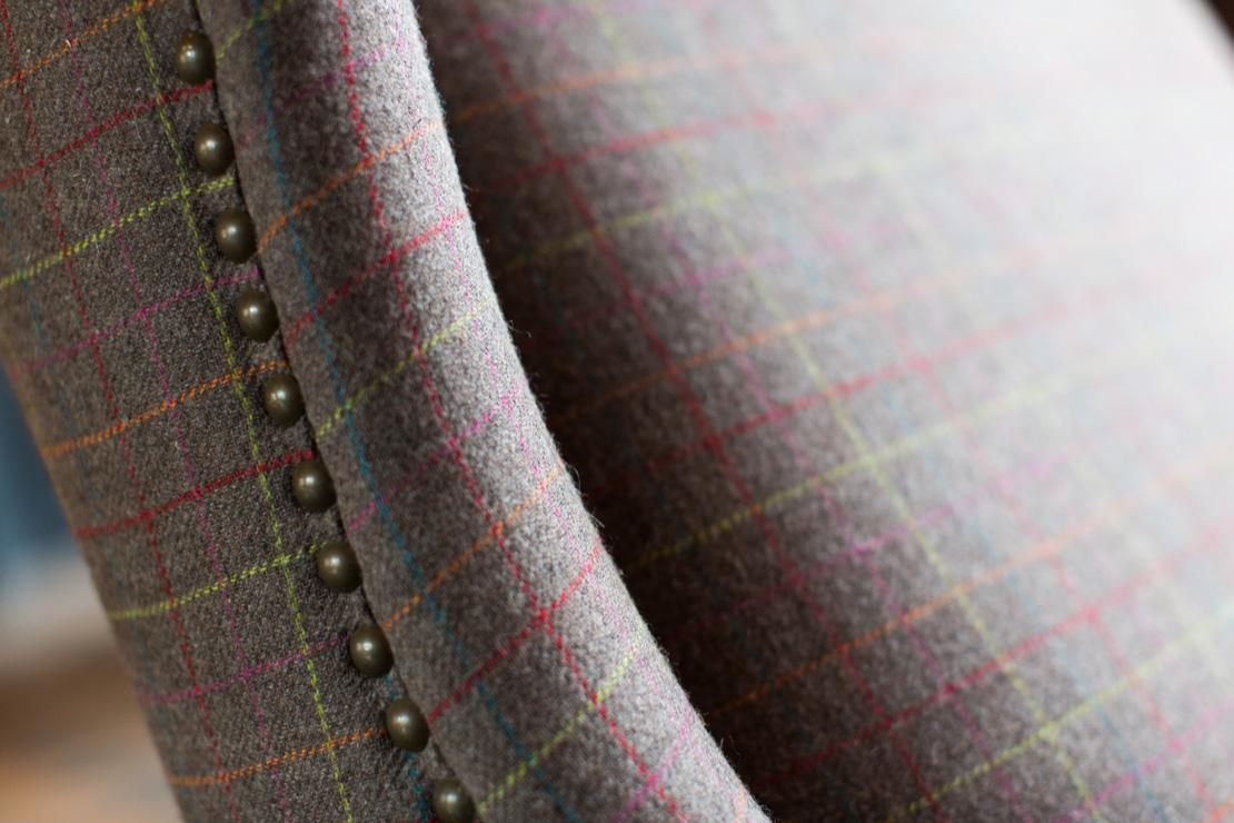 Scottish wool fabric on marie's corner armchair