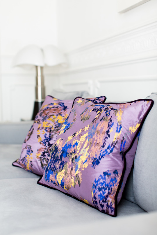Grey Sofa with colorful wild silk cushions