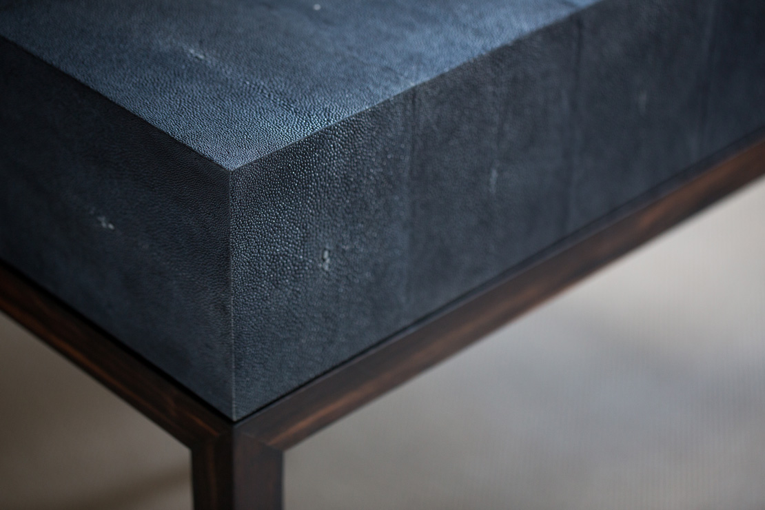 blue suede furniture with wood