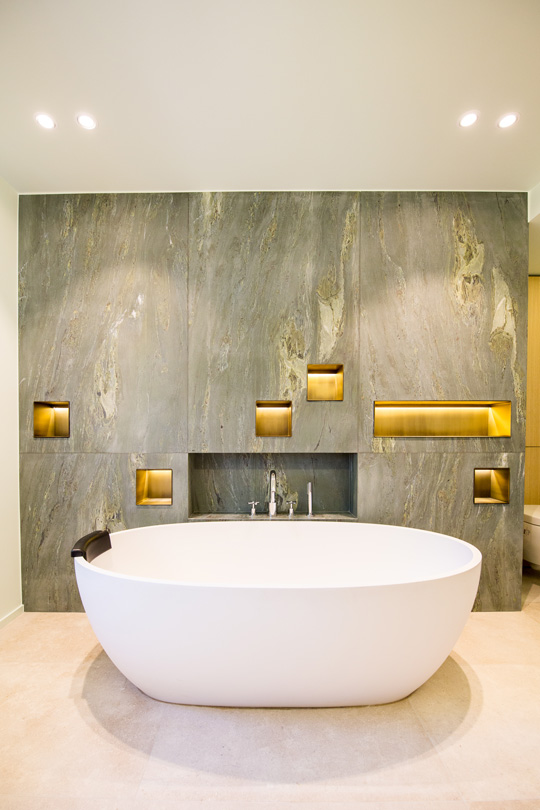 geen marble bathroom with design bath in a refined townhouse