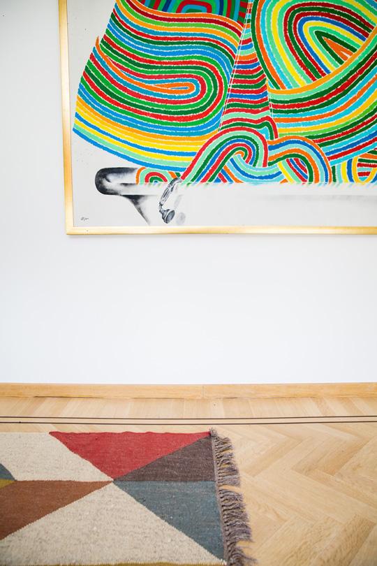 Indian colourful rug, craftmanship