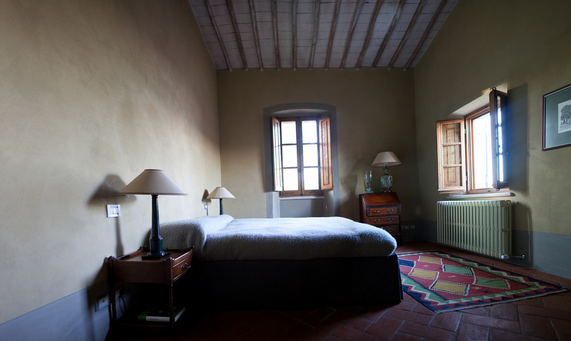 authentic Bedroom in a tuscany countryhouse designed by a belgian and italian interior architect