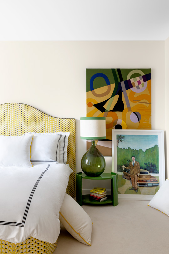 Master bedroom designed by International interior designer Victoria Maria. Bed in le manach écailles fabric, art by Priscilla Bracht