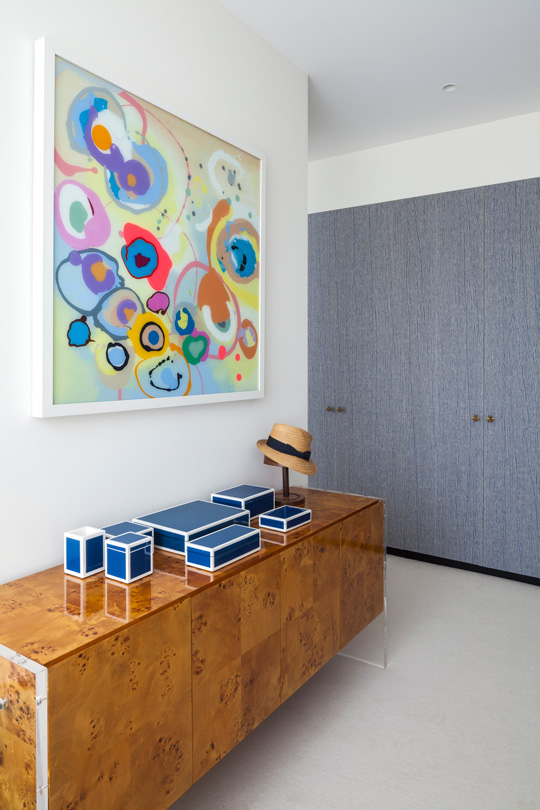 Jonathan Adler acajou furniture with blue laquered boxes from pacific connection