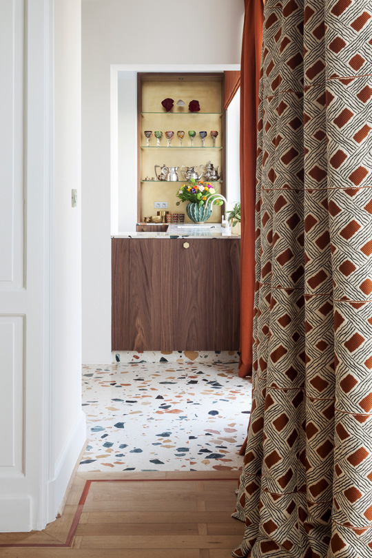 Le Manach fabic for curtains in a corridor of a Brussels Townhouse designed by Victoria Maria